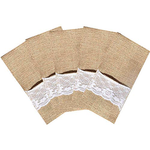 100 Packs Burlap Lace Utensil Holders Pouch Jute Napkin Holders Linen Silverware Cutlery Knife and Fork Bags Pocket for Vintage Rustic Country Weddings Baby Shower Birthday Dinner Party Decorations