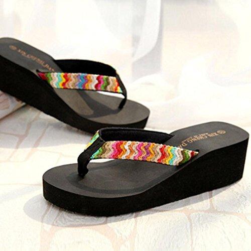 Rawdah Verano plataforma sandalias playa cuña plana patch flip flops zapatillas Negro