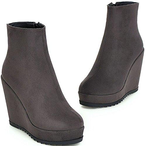 Ankle Wedge Side Zippers Gray Covered Platform Booties KingRover Women's Vegan xUXYqw5P