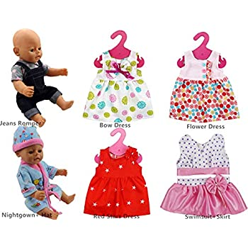 85e6ee605 XADP 6 Sets Doll Clothes Outfits Dresses Clothing for 14 Inch to 16 Inch  New Born Baby Dolls, Bitty Baby Dolls and 18 Inch American Girl Doll
