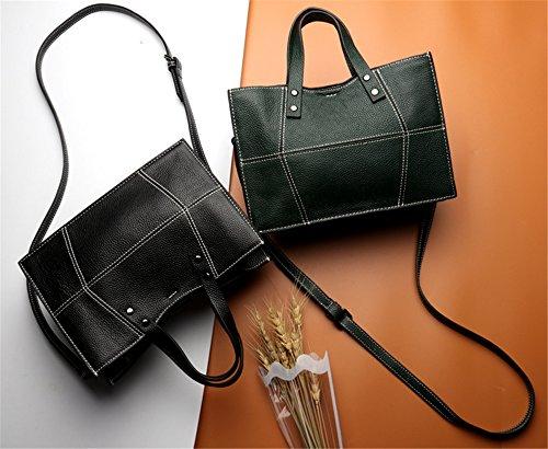 Color sólido Cowhide XinMaoYuan Zipper de sección transversal cuadrada pequeña bolsa de hombro Bolsa Bolso Messenger portátil Verde oscuro