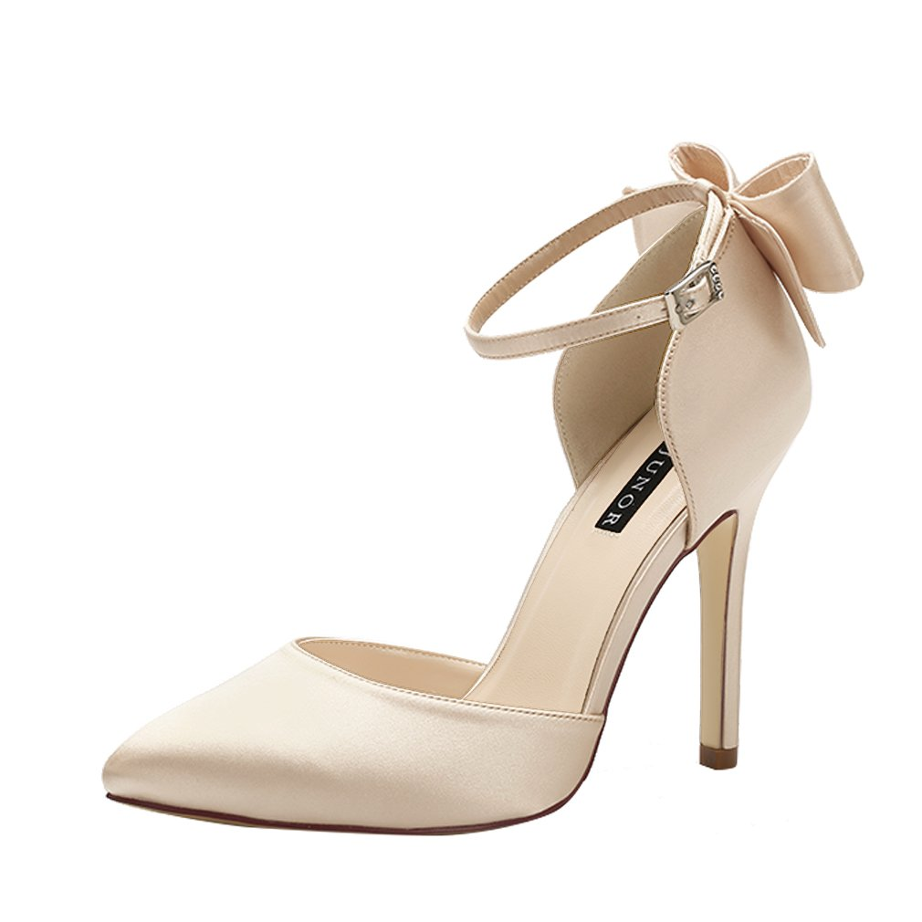 ERIJUNOR E1966A Women High Heel Bow Ankle Strap Evening Party Dance Wedding Satin Shoes Champagne Size 9