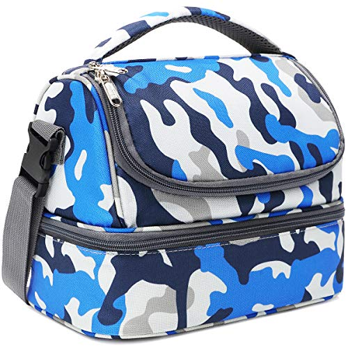 FlowFly Double Decker Cooler Insulated Lunch Bag Kids Lunch Box Large Tote for Boys,Girls,Men,Women, With Adjustable Strap,Blue Camo Doubles Kit Blue Camo