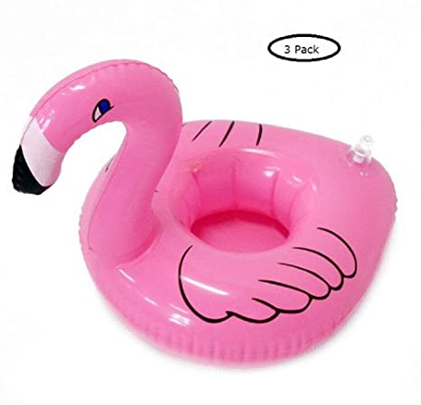 Eidyer Flamingo Posavasos Piscina, Titulares de flotador inflable de la bebida, paquete de 3, tenedor inflable ...