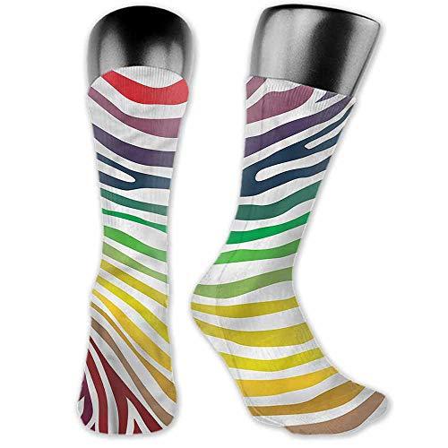 (Men Fashion Socks Zebra Print,Stripes Rainbow Colors,socks men pack low cut)