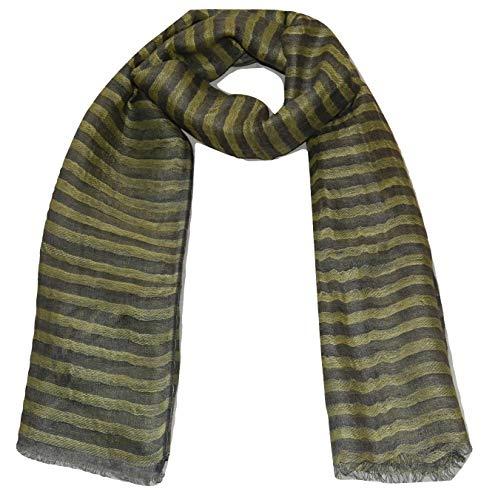 100% Pure Linen Scarf, Two Tone Stripes In Twill & Gauze, Linen Scarf. (Lemon & Grey)