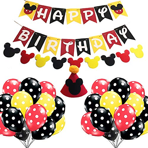 Minnie Mouse Birthday Party Supplies Decorations Minnie Mouse Cute Birthday Party Favors Banner Hat Balloon for Boys 1st 2nd 3rd Birthday Baby Shower Minnie Mouse Birthday Party Decorations]()