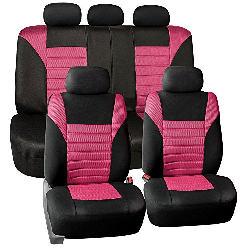- FH GROUP FH-FB068115 Premium 3D Air Mesh Seat Covers Full Set (Airbag & Split Ready), Pink / Black Color- Fit Most Car, Truck, Suv, or Van