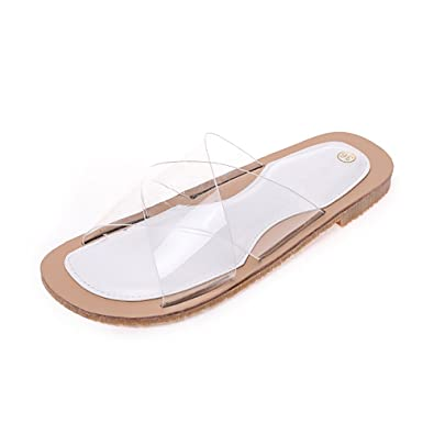 41d06657b FORTUN Cross Strap Transparent Slippers Non-Slip Sandals Shoes Flat Beach  Shoes(White 38