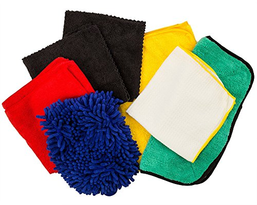 Dry Rite Best Microfiber Car Wash Detail Kit- Super Premium Professional Grade- Super Soft- Safe for All Car Finishes! 8 Piece