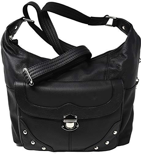 Garrison Grip Crossbody Shoulder Carry Leather Locking Concealment Purse - CCW Concealed Carry Gun Bag (Black) (Best Gun For Self Defense Concealed Carry)