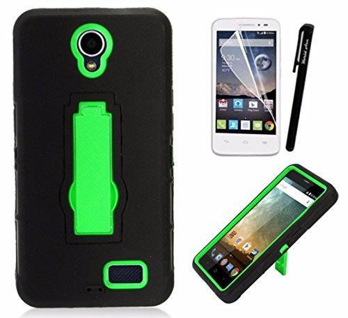 For ZTE Maven 3 / ZTE Prelude 4G LTE 2017 / ZTE Overture 3 Case Symbiosis Armor Hybrid Silicone Phone Cover Hard Plastic w/ Stand Combo Pack (Green/Black)