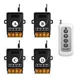 OTTFF Warehouse Office Wireless Remote with 4 Receiver Set - Wireless light Switches - Remote Control Multi-Unit House Lighting Lamps and Other Equipment - No WiFI NO APP