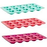 Trudeau 5050674 Set de 3 Moules Pour Chocolat en Forme de Cœur Silicone Menthe/Corail/Fuchsia 17,5 x 11 cm