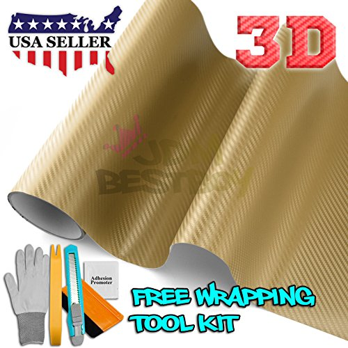 Free Tool Kit 3D Gold Carbon Fiber Texture Vinyl Wrap Sticker Decal Film Sheet - - Gold Carbon Fibre