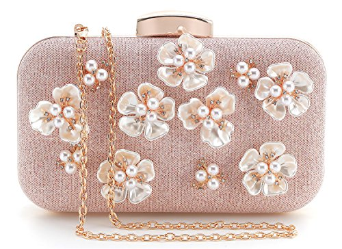 Yuenjoy Womens Glitter Floral Rhinestone Beaded Evening Bags Wedding Clutch Purse