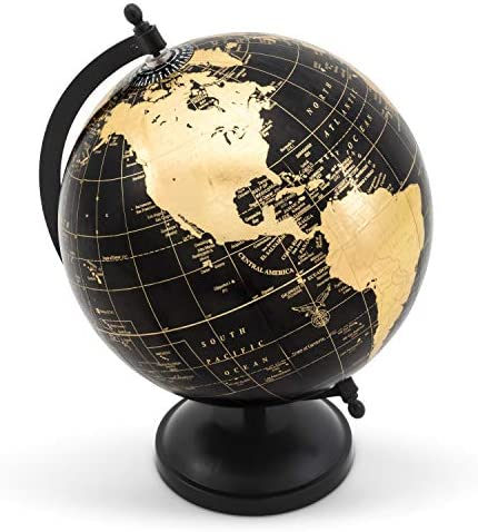 Abbott Collection 57-LATITUDE-10 Globe on Stand-Blk Gold-11 H, Black Gold