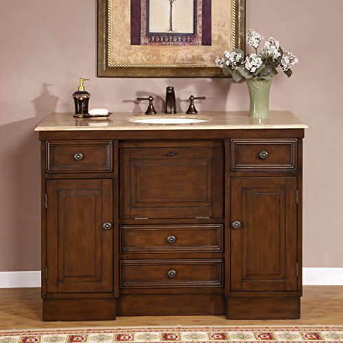 Brass Walnut Vanity - Silkroad Exclusive Hyp-0718-T-Uic-48 Travertine Stone Single Sink Bathroom Vanity with Cabinet, 48