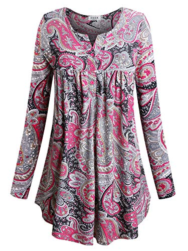 - Floral Swing Tunic,DSUK Womens Henley Split V Neckline Long Sleeve Casual Wear Flowy A-line Flared Hemline Empire Waist Flower Patterned Swing Tunic Shirt Rose X Large