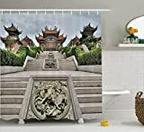 Ambesonne Home Decor Collection, Traditional Chinese Temple with Mythical Double Dragon Carving Buddha Oriental Zen Garden Photo, Polyester Fabric Bathroom Shower Curtain Set with Hooks, Multi