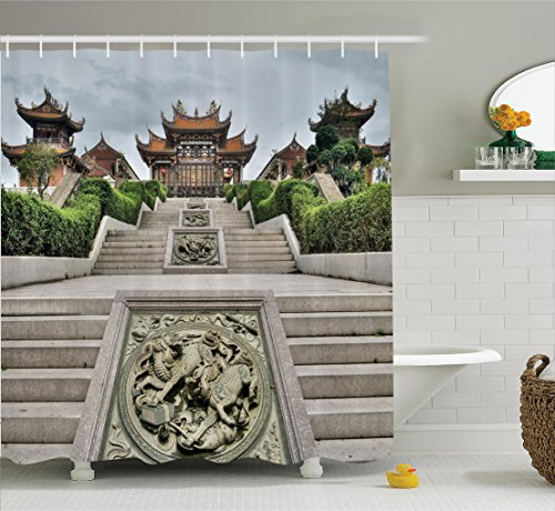 Garden Temple Chinese - Ambesonne Home Decor Collection, Traditional Chinese Temple with Mythical Double Dragon Carving Buddha Oriental Zen Garden Photo, Polyester Fabric Bathroom Shower Curtain Set with Hooks, Multi