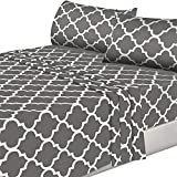 Utopia Bedding 4PC Bed Sheet Set 1 Flat Sheet, 1 Fitted Sheet, and 2 Pillowcases (Queen, Grey)