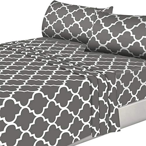 Utopia Bedding 4PC Bed Sheet Set 1 Flat Sheet, 1 Fitted Sheet, and 2 Pillowcases (Queen, Grey) ()
