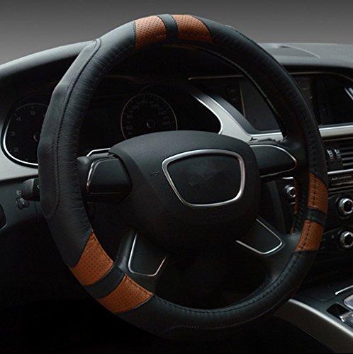 Dee-Type Leather Steering Wheel Cover Universal 15 inch Black & Brown