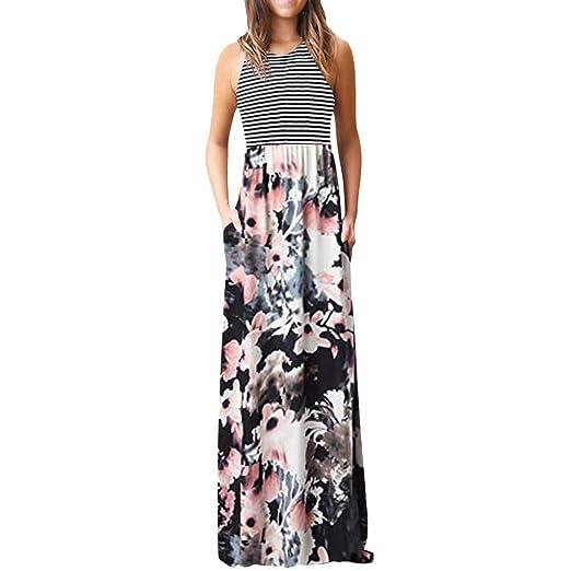 1d4f86fa1cd5 Women Halter Flowy Maxi Dress, Lady Summer Casual Vintage Floral Print  Stripe Sleeveless Tank Beach