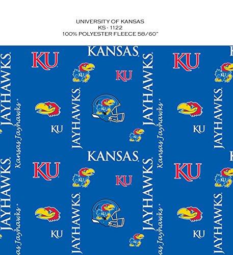 UNIVERSITY OF KANSAS FLEECE BLANKET FABRIC-KANSAS JAYHAWKS FLEECE FABRIC-NEWEST DESIGN