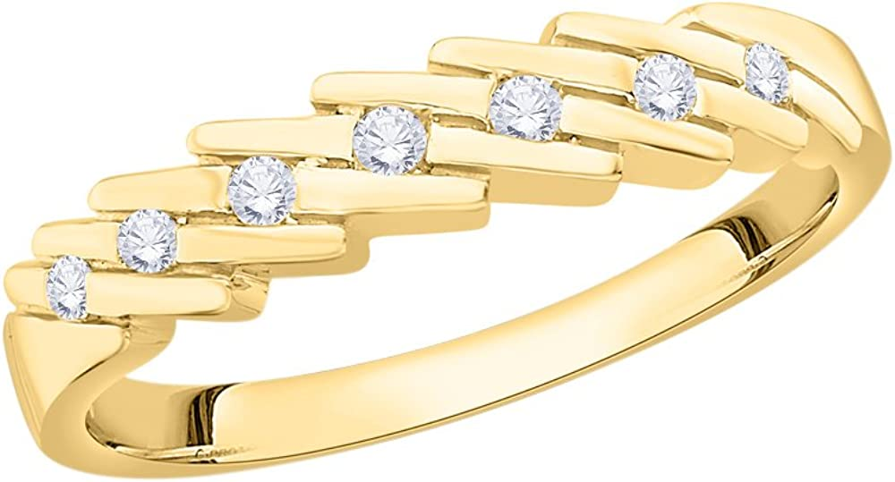 1//10 cttw, G-H,I2-I3 Diamond Wedding Band in 10K Yellow Gold Size-6.75