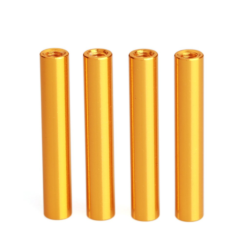 ZSJ 50pcs/pack New Upgrading M3X5mm Multicolored Round Aluminum Customized Standoff Spacer For FPV Drone Frame/Quadcopter (Gold)