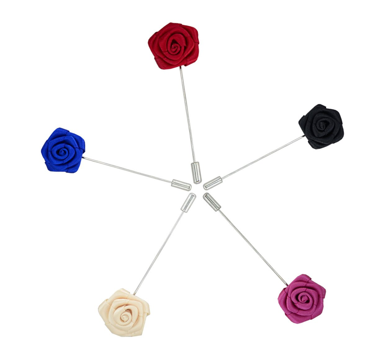 5 Pcs Heymei Men's Mixed Color Brooches Flower Lapel Floral Pins for Suit BS02 (Multi3)
