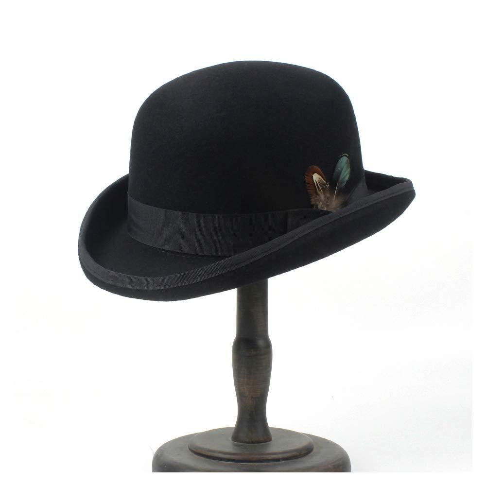 LL Men's 100% Wool Bowler Hat Cowboy Fashion Equestrian Cap Women Party Fashion Black Brown Adjust Hat (Color : Black, Size : 61cm) by LL (Image #4)