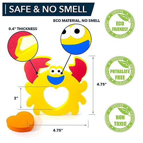 Educational Bath Toys Boys Girls - Early Learning Bath Toys - Foam Bath Toys Puzzles Animals - Fun Floating Educational Toys For Toddlers Kids - Bathtub Storage Mesh Bag-Fishing Rod Puzzle and Animal by BABY LOOVI (Image #1)