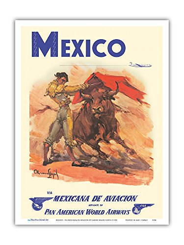Mexico - via Mexicana de Aviación - Pan American World Airways - Bull Fighter - Vintage Airline Travel Poster by Carlos Ruano Llopis c.1950 - Master Art Print - 9in x 12in (Bull Vintage)
