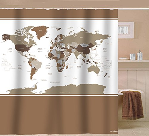 Designer Fabrics Curtains (Sunlit Designer New Updated World Map Quality Fabric Shower Curtain with Countries and Ocean 72 x 72 inch- Tan Brown and White)