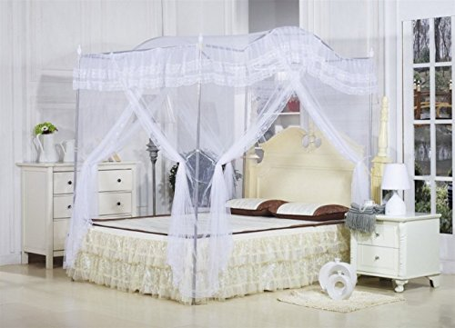 White Arched Four Corner Square Princess Bed Canopy Mosquito Netting (Twin-XL) by Ka canopy bed