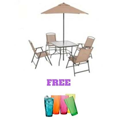 Astonishing Mainstay Albany Lane Folding Dining Set Includes Dining Table Folding Chairs And Umbrella 6 Piece Tan Pdpeps Interior Chair Design Pdpepsorg