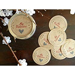 My Valentines Day, Canning Jar Lid Covers, Mason Jar Labels, Removable Inserts, Gift Wrapping, Set of 8