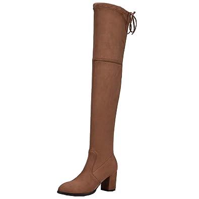700b9dd8749c6 YE Damen Overknee Stiefel Spitze Stretch Boots Blockabsatz Schlupfstiefel  Mode Hohe Stiefel Langschaft Winer Schuhe(