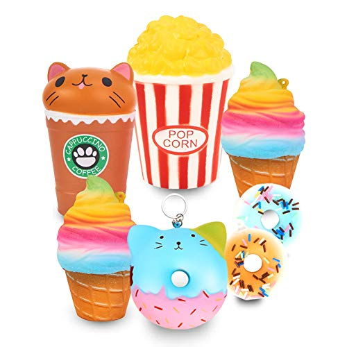 Slow Rising Jumbo SQUISHIES SET PACK of 7 - Cat Bear Donuts, Frappuccino, Popcorn? Ice Cream X2 & Donuts X2, Kawaii Squishy Toys or Stress Relief Toys PLUS BONUS Sticker Come With the Squishy for Gift