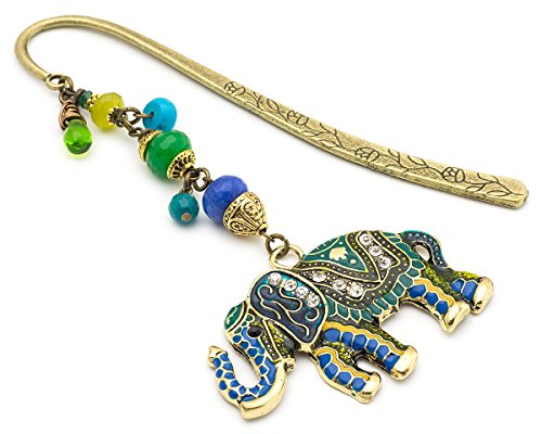 [Oriental elephant green and blue brass metal unique bookmark] (Brass Elephant Charm)