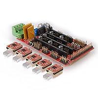 Kuman 3D Printer Kit RAMPS 1.4 Controller Board + 5pcs A4988 StepStick Stepper Motor Driver Module + Heat Sink for 3D Printer Reprap, CNC Machine or Robotics from Kuman