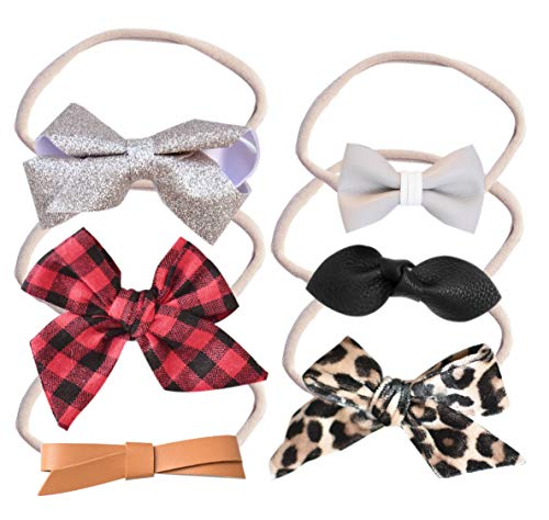 California Tot Mixed Holiday Bow Set of 6 in Soft & Super Stretchy Nylon Headbands for Newborn, Toddler, Girls (Hope Set of 6)