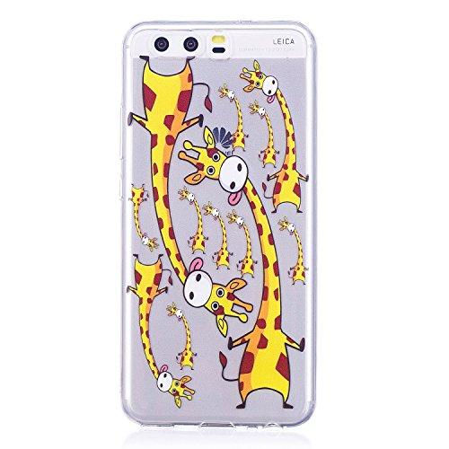 Funda para Huawei P10 , IJIA Transparente Adorable Unicornio TPU Silicona Suave Cover Tapa Caso Parachoques Caja Suave Carcasa Shell Cubierta para Huawei P10 (5.1) LF15