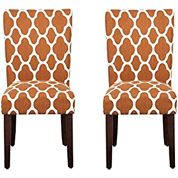 Kinfine Parsons Upholstered Accent Dining Chair, Set Of 2, Rust And Cream  Geometric