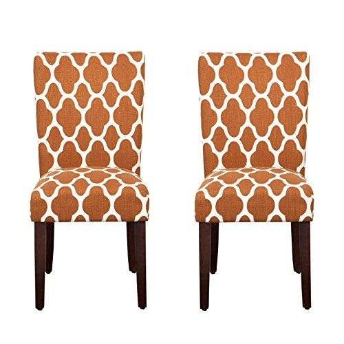 Kinfine Parsons Upholstered Accent Dining Chair, Set of 2, Rust and Cream Geometric Rust Cream