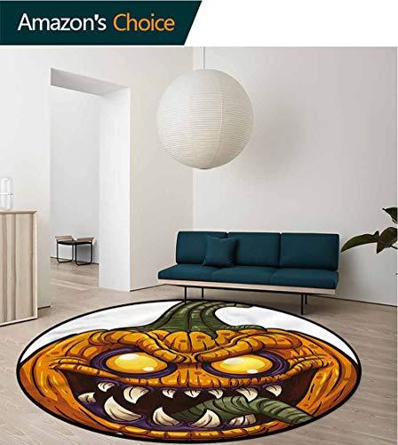 Halloween Round Rug,Scary Pumpkin Monster Pattern Floor Seat Pad Home Decorative Indoor Diameter-35]()