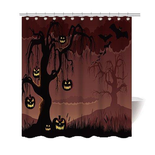 Gwein Halloween Night Theme Dead Wood Pumpkins in Tree Witherbark Decorative Bathroom Mildew Resistant Fabric Shower Curtain Waterproof Antibacterial Shower Room Decor Shower Curtains 72 x 72 -
